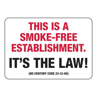 North Dakota Smoke-Free Establishment Sign
