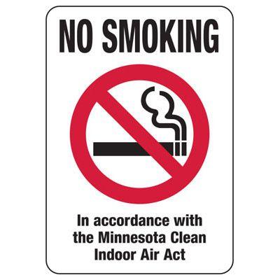 Minnesota Smoke-Free Signs- No Smoking