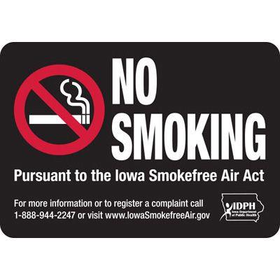 Iowa Smoke-Free Signs- No Smoking
