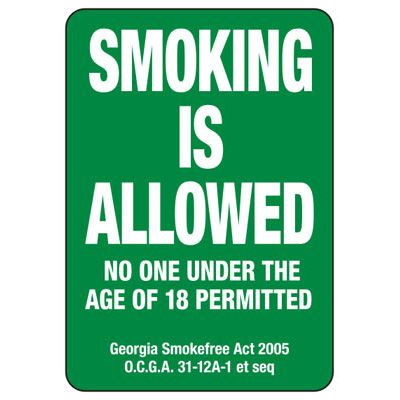 Smoking Is Allowed No One Under 18 Permitted- Georgia No Smoking Sign