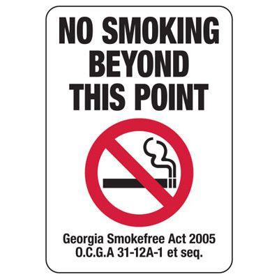 No Smoking Beyond This Point - Georgia No Smoking Sign