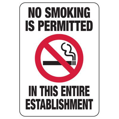 No Smoking In This Entire Establishment - Minnesota No Smoking Sign