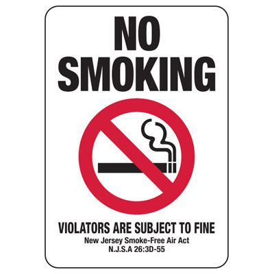 No Smoking Violators Subject To Fine - New Jersey No Smoking Sign