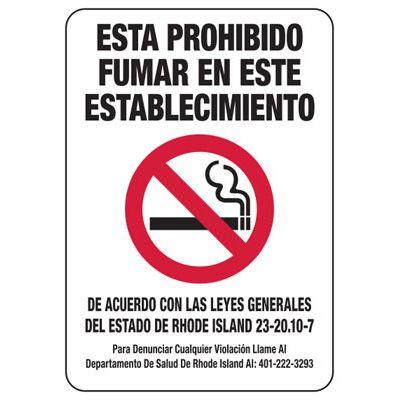 Prohibido Fumar - Rhode Island Spanish No Smoking Sign