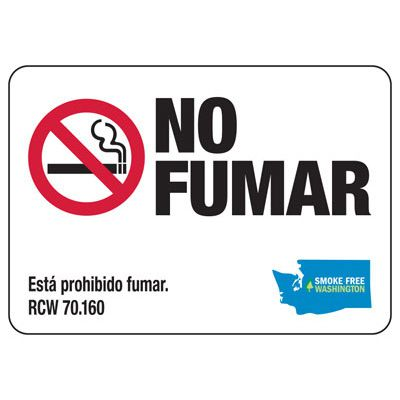 No Fumar - Washington Spanish No Smoking Sign