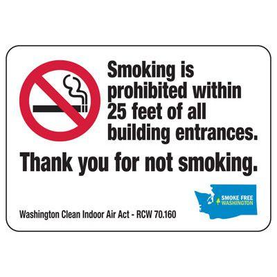 Thank You For Not Smoking - Washington No Smoking Sign