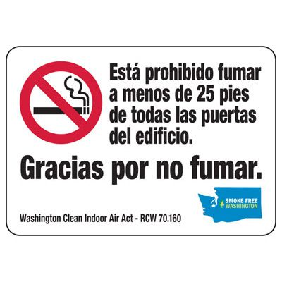 Gracias Por No Fumar - Washington Spanish No Smoking Sign
