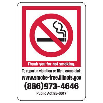 Thank You For Not Smoking - Illinois No Smoking Sign