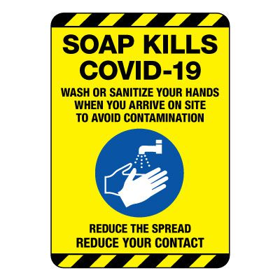 Soap Kills COVID-19 Construction Site Sign