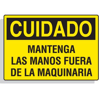Spanish Hazard Warning Labels - Cuidado Mantenga Las Manos Fuera De La Maquinaria