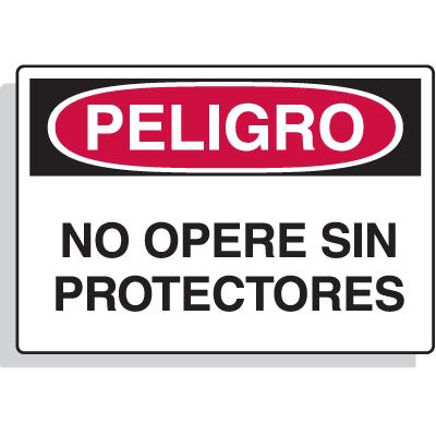 Spanish Hazard Warning Labels - Peligro No Opere Sin Protectores