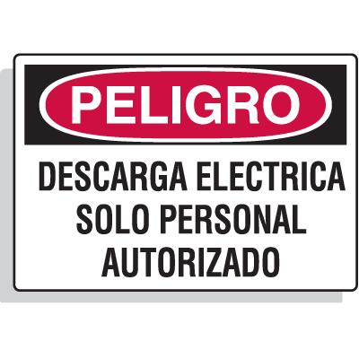 Spanish Hazard Warning Labels - Peligro Descarga Electrica Solo Personal Autorizado