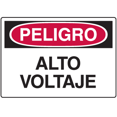 Spanish Hazard Warning Labels - Peligro Alto Voltaje