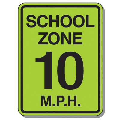 Speed Limit Signs - School Zone 10 Mph