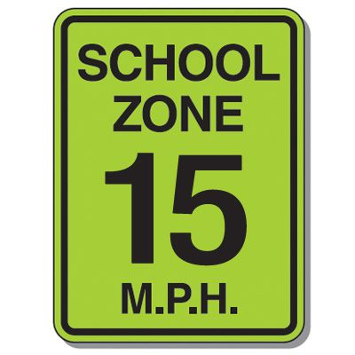 Speed Limit Signs - School Zone 15 Mph
