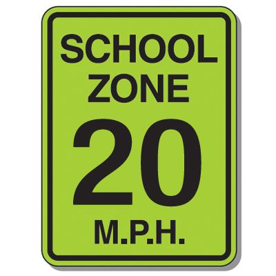 Speed Limit Signs - School Zone 20 Mph