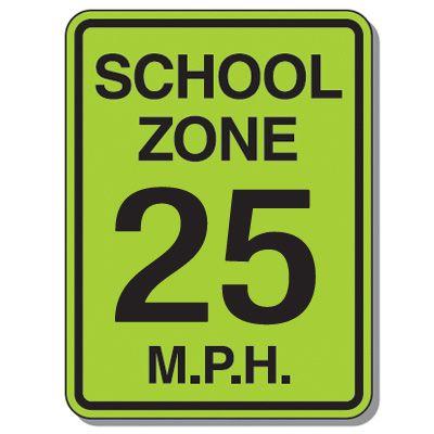 Speed Limit Signs - School Zone 25 Mph