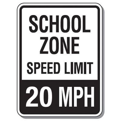 Speed Limit Signs - School Zone Speed Limit 20 Mph
