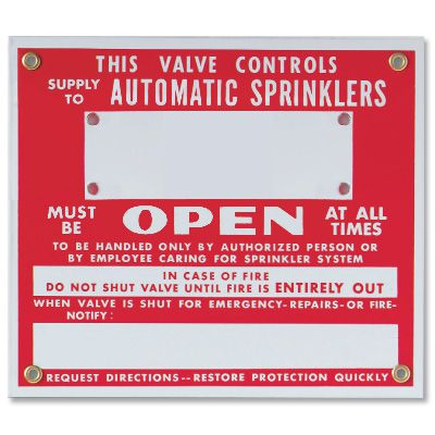This Valve Controls Automatic Sprinklers - Sprinkler Sign