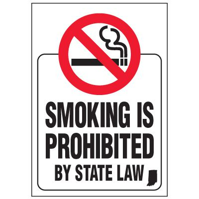 Indiana Smoking is Prohibited By Law Label