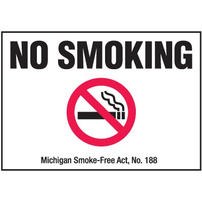 Michigan Smoke-Free Signs - No Smoking