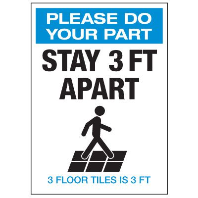 Stay 3 Ft Apart 3 Floor Tiles Labels