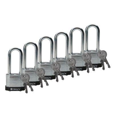Brady Keyed Different 2 inch Shackle Steel Locks - Black - Part Number - 51299 - 6/Pack