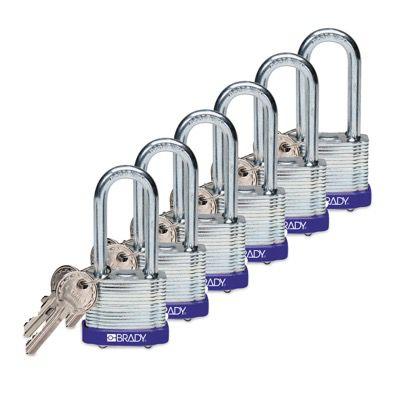 Brady Keyed Alike 2 inch Shackle Steel Locks - Blue - Part Number - 105899 - 6/Pack