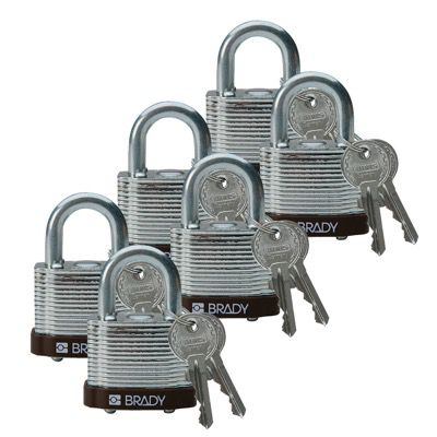 Brady Keyed Different Three Quarter inch Shackle Steel Locks - Brown - Part Number - 102696 - 6/Pack