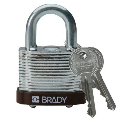 Brady Keyed Different Three Quarter inch Shackle Steel Locks - Brown - Part Number - 101957 - 1/Each