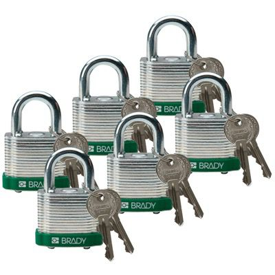 Brady Keyed Different Three Quarter inch Shackle Steel Locks - Green - Part Number - 51281 - 6/Pack