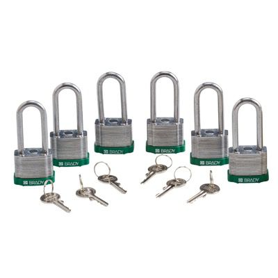 Brady Keyed Alike 2 inch Shackle Steel Locks - Green - Part Number - 105901 - 6/Pack