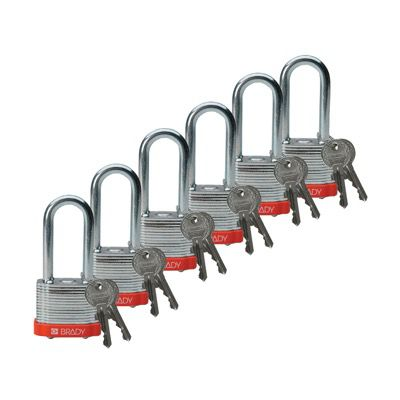 Brady Keyed Different 2 inch Shackle Steel Locks - Orange - Part Number - 51298 - 6/Pack