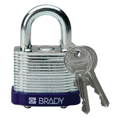 Brady Keyed Different Three Quarter inch Shackle Steel Locks - Purple - Part Number - 104920 - 1/Each