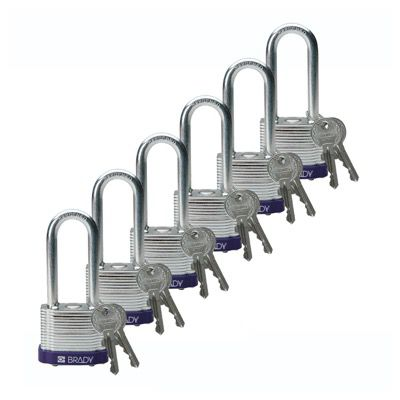 Brady Keyed Different 2 inch Shackle Steel Locks - Purple - Part Number - 104918 - 6/Pack