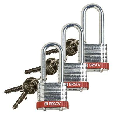 Brady Keyed Alike 2 inch Shackle Steel Locks - Red - Part Number - 105894 - 3/Pack