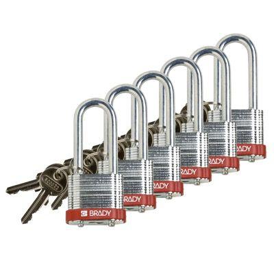Brady Keyed Alike 2 inch Shackle Steel Locks - Red - Part Number - 105898 - 6/Pack