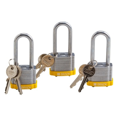 Brady Keyed Alike 2 inch Shackle Steel Locks - Yellow - Part Number - 105896 - 3/Pack