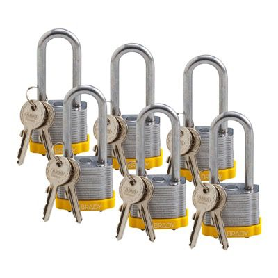 Brady Keyed Alike 2 inch Shackle Steel Locks - Yellow - Part Number - 105900 - 6/Pack