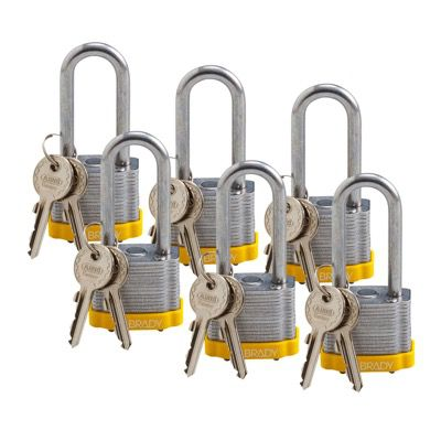 Brady Keyed Different 2 inch Shackle Steel Locks - Yellow - Part Number - 51297 - 6/Pack