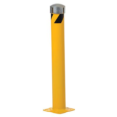 Steel Pipe Bollard With Chain Slots & Removable Bolt-On Steel Cap