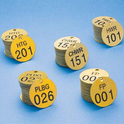 Stock Abbreviated-Wording Brass Valve Tags
