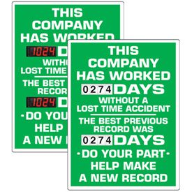 Stock Scoreboards - Company Without Lost Time Accident