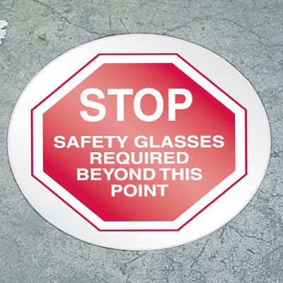Stop Floor Marker - Safety Glasses