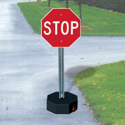 Stop Sign And U-Channel Post  Kits -  60 lb. Base With Wheels