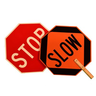 Stop-Slow - Two-Sided Traffic Paddle Sign