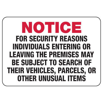 Individuals May Be Subject To Search - Surveillance Signs