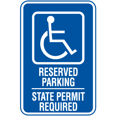Symbol Of Access Parking Signs - State Permit Required