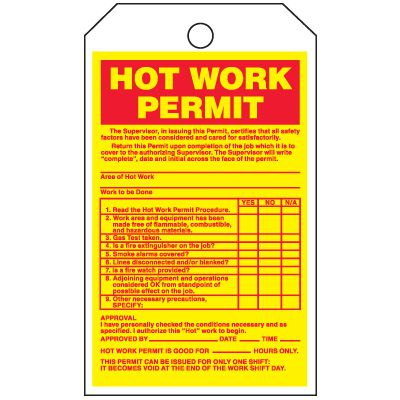 Inspection Tags-On-A-Roll - Hot Work Permit (Cardstock)