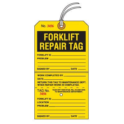 Tear-Off Jumbo Forklift Repair Tags